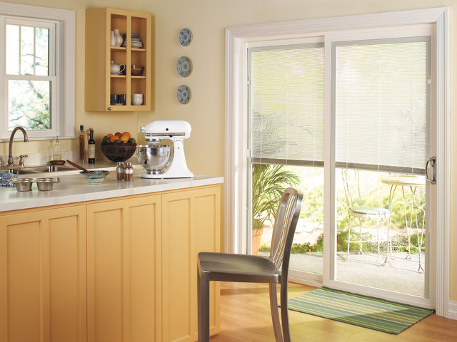 Thermastar by pella sliding patio door traditional kitchen for Sliding glass doors kitchen
