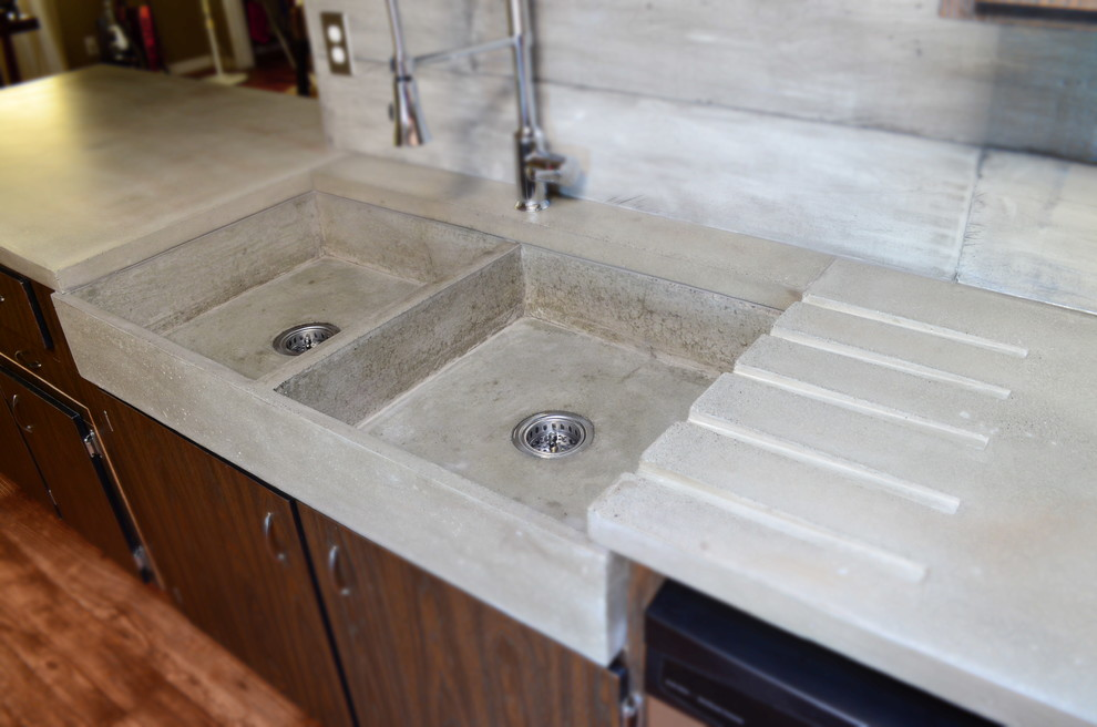 This Modern Double Farm Style Apron Concrete Sink Is Massive In Size Contemporary Kitchen Vancouver By Mode Concrete