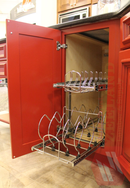 Tiered Pan and Lid Storage Pull-Out traditional-kitchen