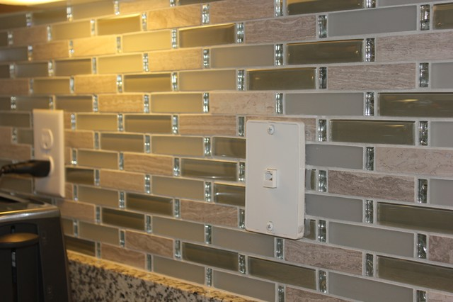 tile backsplash with bling was added above the kitchen counters