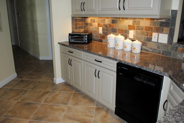 Tile Floor, Caledonia Granite, Multicolored Slate Look Backsplash
