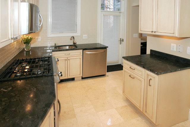 Tile flooring and efficient layout for Traditional kitchen equipments
