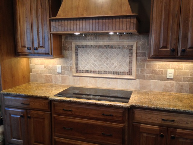 tile kitchen backsplash natural stone transitional kitchen - Stone Kitchen Backsplash