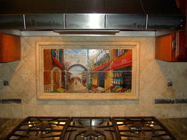 Tile murals in small spaces mediterranean kitchen for Backsplash tile mural