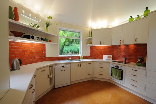 Kitchen Tiles Orange tiled kitchen splashback - mediterranean - kitchen - auckland -