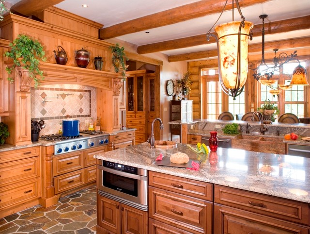 Timber creek lodge by wisconsin log homes www for Log home kitchens gallery