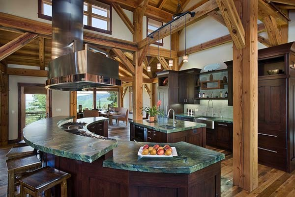 Timber Frame Home Contemporary Kitchen Denver on log and stone house plans