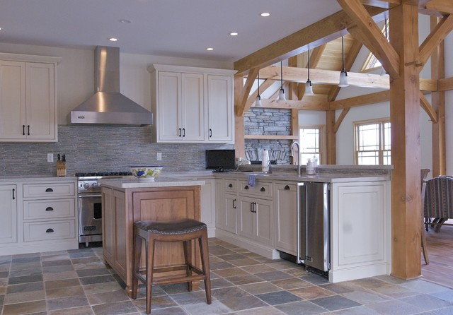Timber frame kitchen designs traditional kitchen for Post and beam kitchen ideas