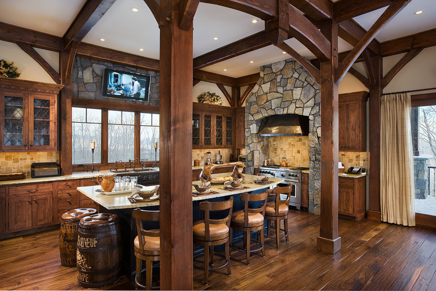 Timber Frame Kitchen Designs Traditional Kitchen Denver By Woodhouse Post Beam Homes Houzz
