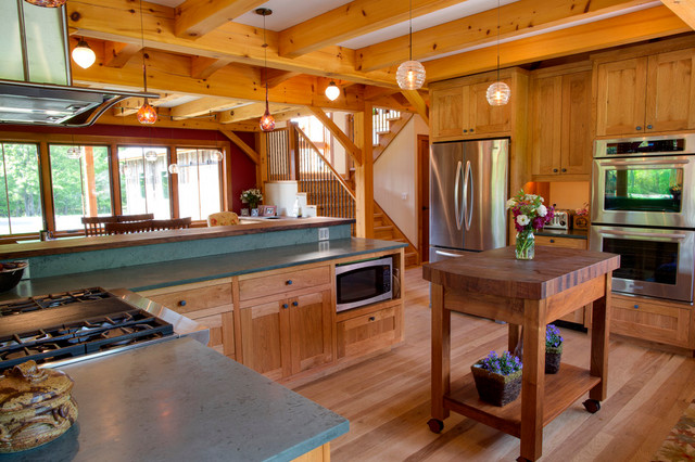 Timber Frame Kitchen With Custom Cabinetry Modern