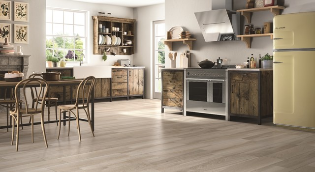Timber look tiles alsace cuvee rustic kitchen for Cuvee kitchen designs