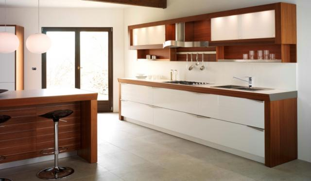 Time by lucci orlandini design crystal white polymeric for Modern teak kitchen cabinets