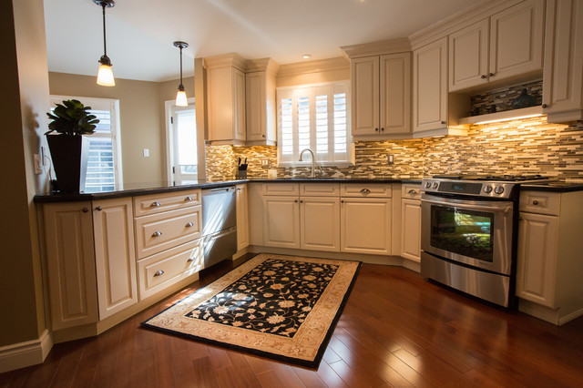 Time warn budget conscious remodel transitional for Kitchen design 60035