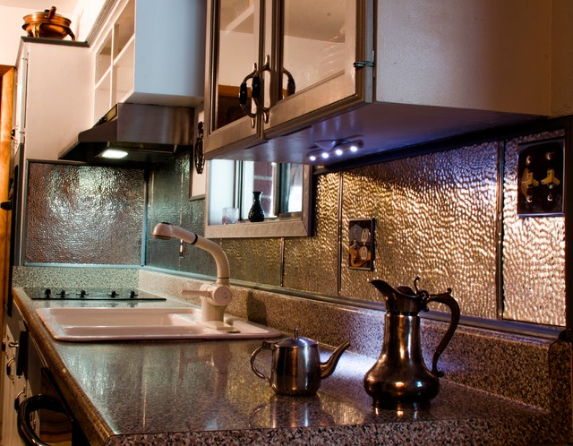 Tin Backsplash   Kitchen Backsplashes Contemporary Kitchen