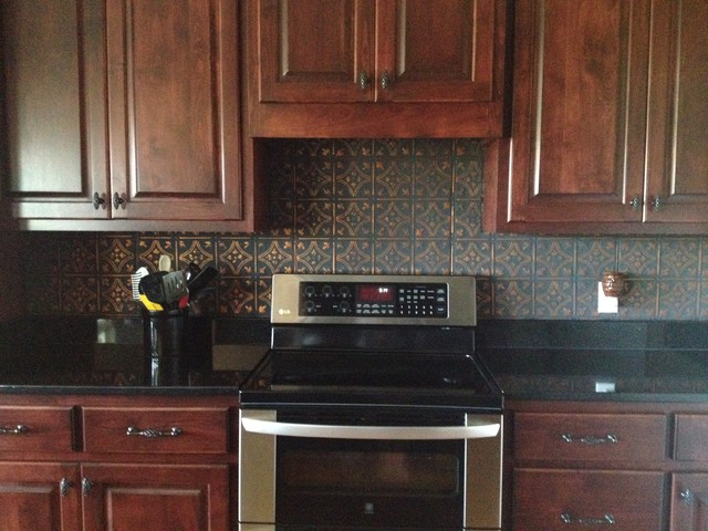 tin tiles for kitchen backsplash tin ceiling tile installed traditional kitchen tampa 26044