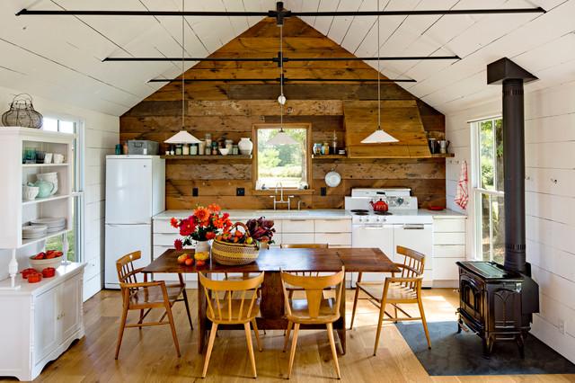Interior Designers Decorators Farmhouse Single Wall Eat In Kitchen Photo Portland With White Liances Flat