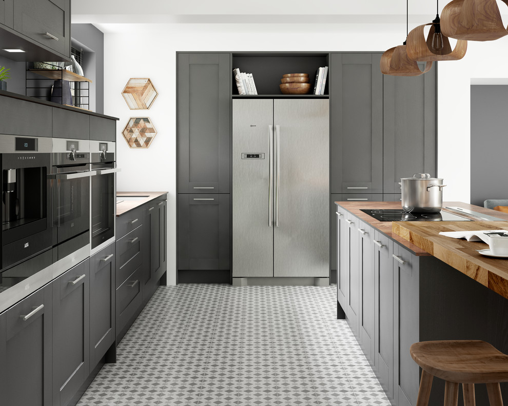 Tiverton Slate Grey And Wood Kitchen Contemporary Kitchen Other By Wickes