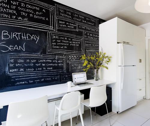 pared de cocina pintada con pintura de pizarra