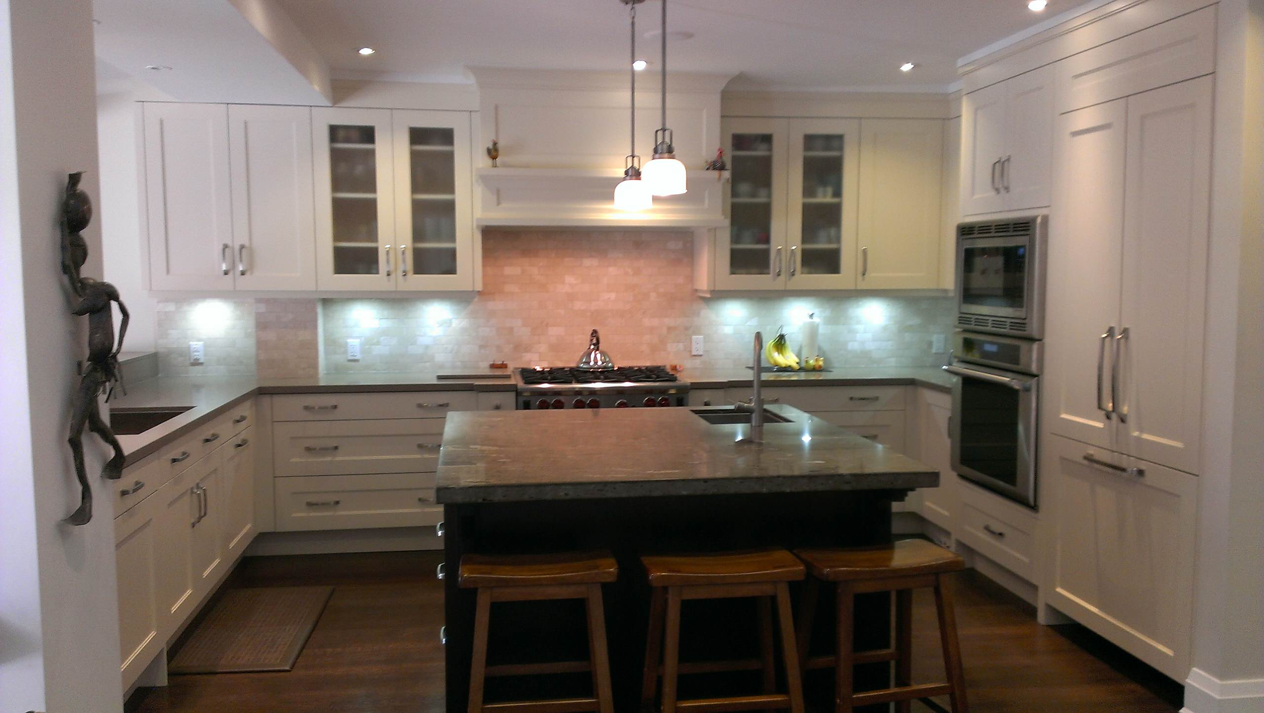Total Transformation, shaker style, integrated fridge and dishwasher, center isl