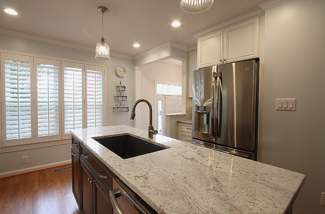 townhouse kitchen remodel bianco romano granite traditional kitchen - Townhouse Kitchen Remodel