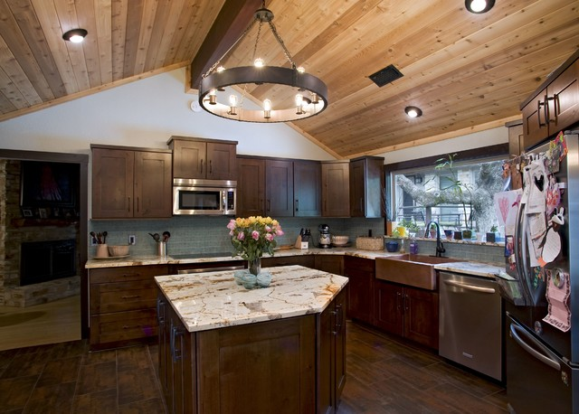 Traditional Alder Kitchen with Custom Shelves and Island traditional-kitchen