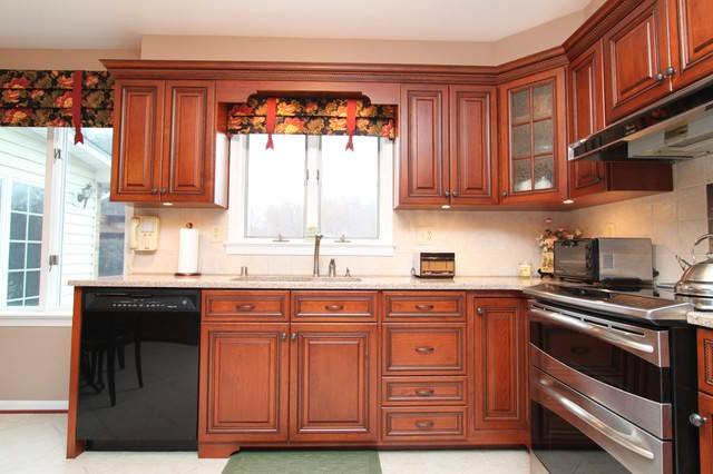 Traditional Cherry Kitchen Reface with Custom Details in Herndon, VA ...