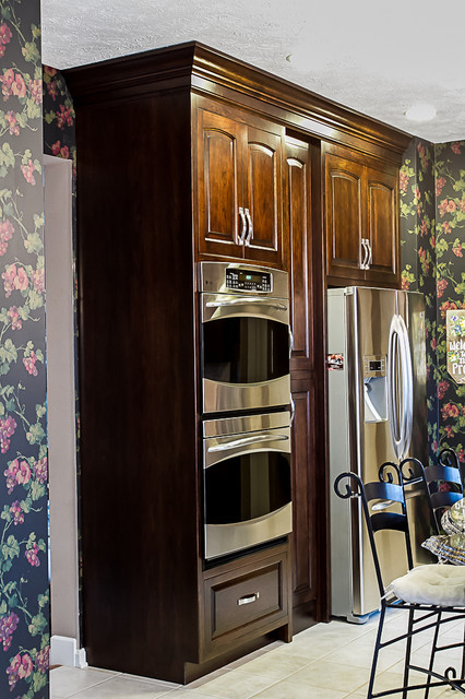 Traditional Cherry Kitchen with Distressed Black Accents traditional-kitchen
