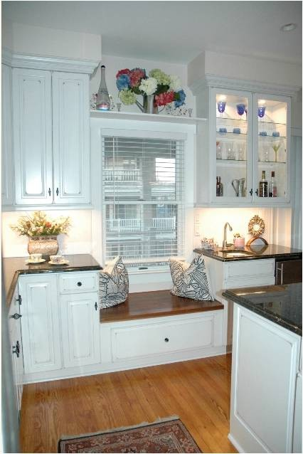 Traditional Cherry Kitchen With Vintage White Finish