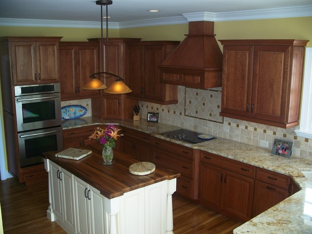 cherry and white kitchen cabinets traditional cherry with white accent traditional 13482