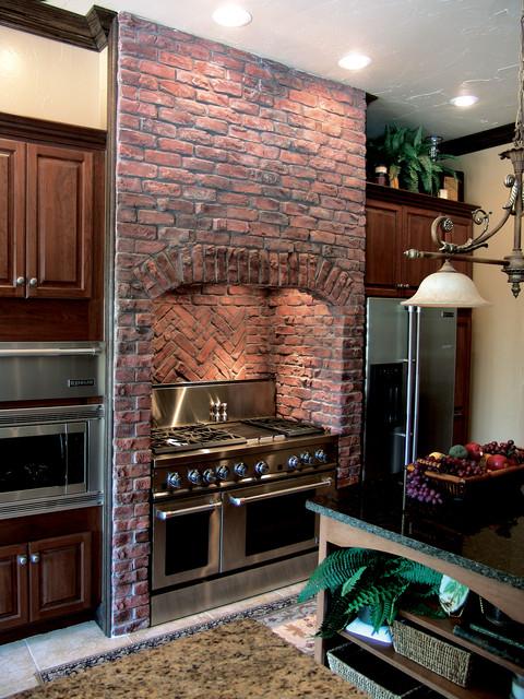 Traditional Clinker Brick Kitchen Coronado Stone Thin