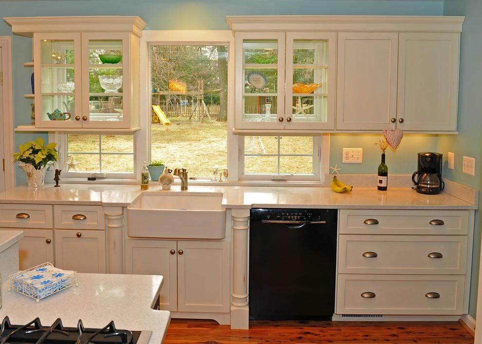 Elegant kitchen photo in DC Metro with a farmhouse sink and black appliances