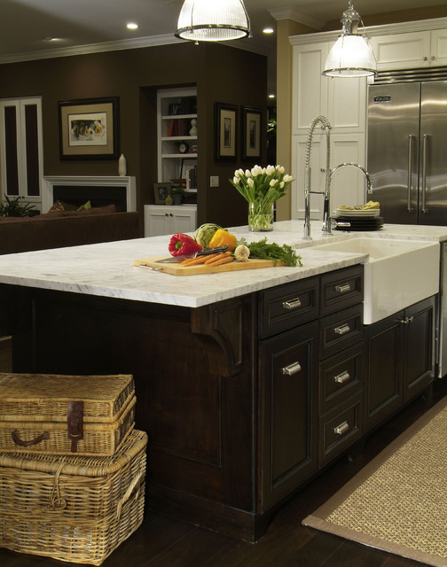 Traditional Dark Wood Kitchen Island with Farmhouse Sink - Traditional - Kitchen - Denver - by ...