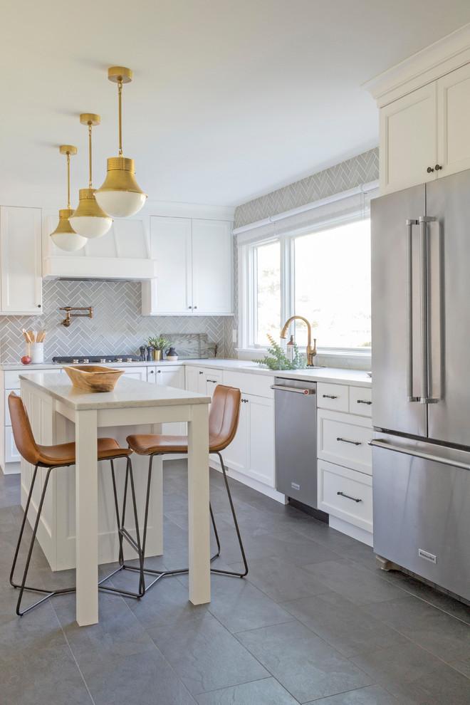 Traditional Grey Herringbone Kitchen Unique Transitional Kitchen