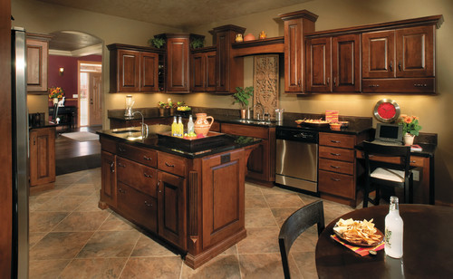 Like the paint color with dark cabinets. What color is the paint in the kitchen and where is it ...