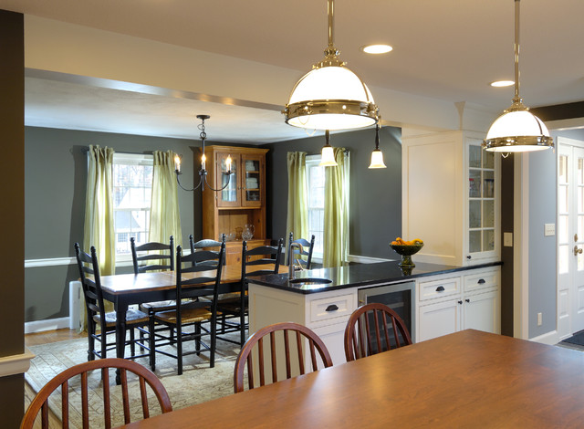 Traditional kitchen dining room remodel remove wall for Dining room renovation