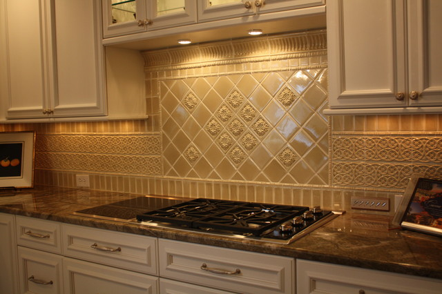 Glazed Porcelain Tile Backsplash - Traditional - Kitchen