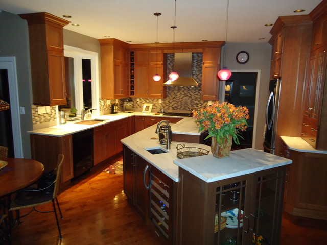 Multi level island in full kitchen remodel for Two level kitchen island