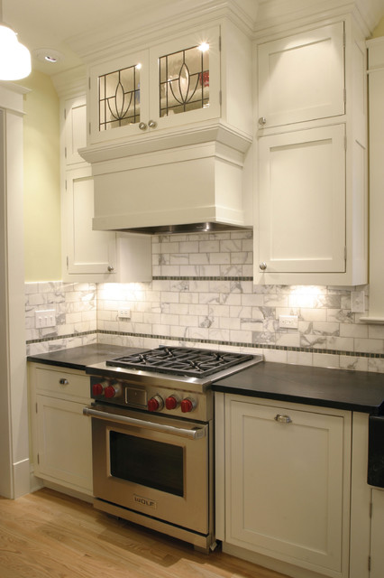 Traditional kitchen design with leaded glass cabinets for Beveled glass kitchen cabinets