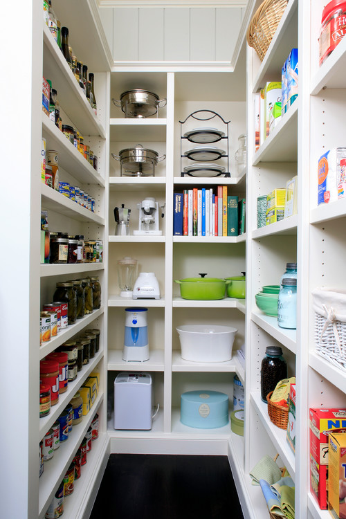 Walk In Pantry Design Ideas walk in pantry for storing food small appliances cookbooks holiday or not pantry ideaskitchen The Pros And Cons Of Walk In Vs Cabinet Pantries