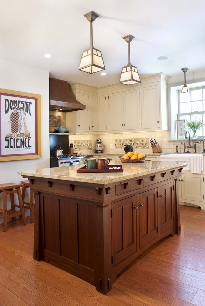 Kitchen - traditional kitchen idea in Philadelphia with shaker cabinets, white cabinets and multicolored backsplash