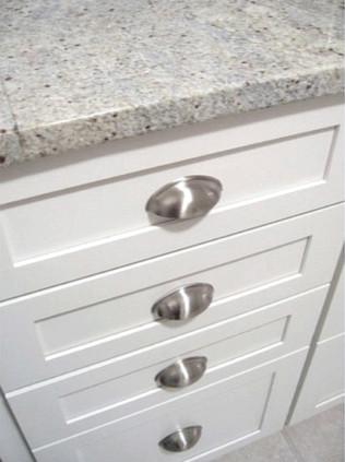 White Kitchen Cup Pulls - Traditional - Kitchen - Richmond