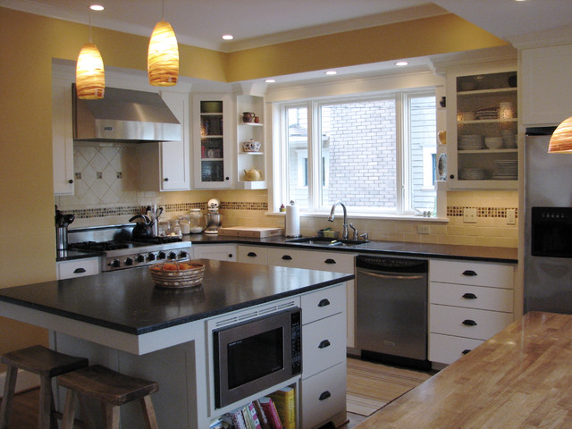 Traditional kitchen for White cabinets yellow walls kitchen