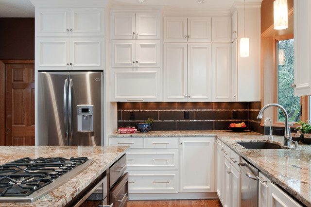 Elegant U Shaped Open Concept Kitchen Photo In Other With Stainless Steel  Appliances, Granite