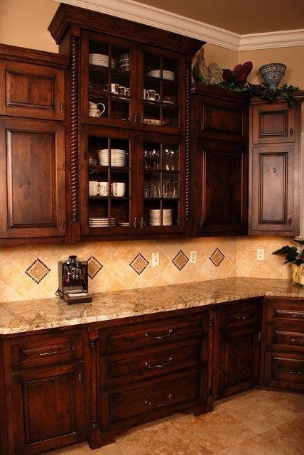 Mediterranean spanish colonial for Colonial kitchen cabinet ideas