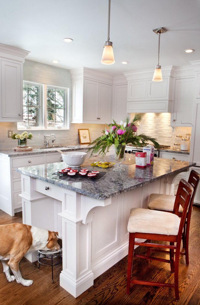 Kitchen - traditional kitchen idea in St Louis with granite countertops