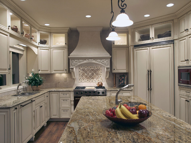 White Antique-Look Old-World Kitchen - Traditional - Kitchen
