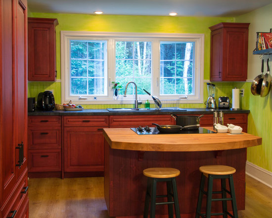 Butcher Block Island Cottage Style Kitchen After Remodel Pictures To