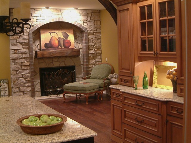 Kitchen Fireplace Traditional Kitchen Detroit By M