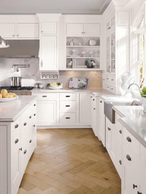 Decora Cabinetry Prescott Beaded Inset Maple White Traditional Kitchen