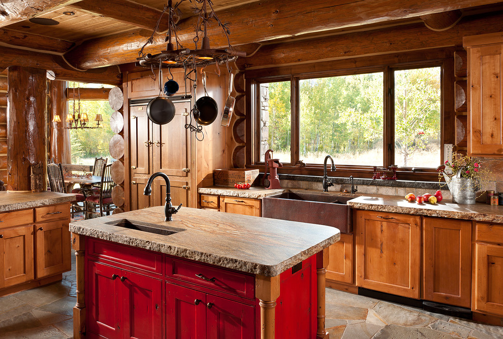 Kitchen - rustic kitchen idea in Jackson with a farmhouse sink
